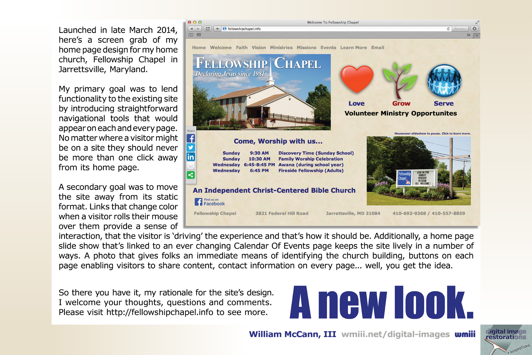 A new look for Fellowship Chapel's website.